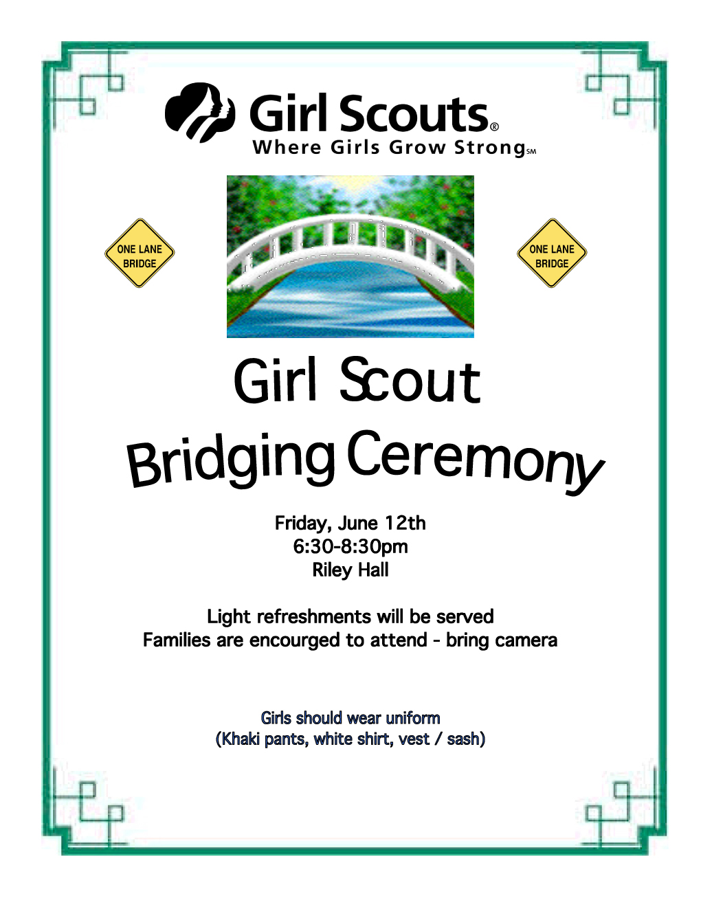 what is bridging bridging is a girl scout ceremony to recognize a girl ...
